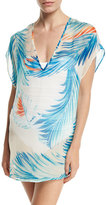 Milly Eze Feather-Print Dolman Silk Coverup, Neutral/Blue