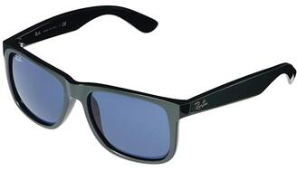 Ray-Ban RB4165 Justin Square Sunglasses 54 mm (Green Metallic/Black) Fashion Sunglasses