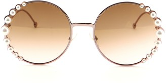 Fendi Ribbons and Pearls Round Sunglasses Embellished Metal