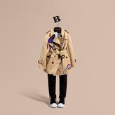 Burberry Appliquéd Weather Motif Cotton Trench Coat
