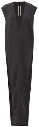 Rick Owens Plunge-neck Side-slit Crepe Dress - Black