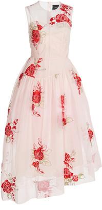 Simone Rocha Floral-Embroidered Asymmetric Tulle Dress