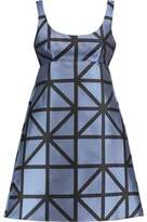 Milly Roxanne Pleated Printed Satin-Jacquard Mini Dress