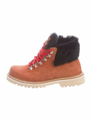 Montelliana Suede Colorblock Pattern Hiking Boots w/ Tags Red