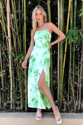 Nasty Gal Womens Tie Dye Halter Neck Split Leg Maxi Dress - Apple Green