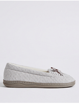 M&S Collection Striped Moccasin Slippers