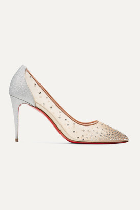 Christian Louboutin Follies 85 Crystal-embellished Mesh And Glittered-leather Pumps - Silver
