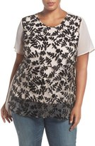 Vince Camuto Beaded Chiffon Top (Plus Size)