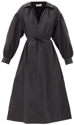 Co Collared V-neck Cotton-blend Midi Dress - Black