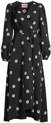 Kate Spade Spade Clover Print Midi Wrap Dress