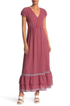 Max Studio Printed Ruffle Hem Maxi Dress