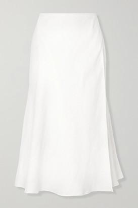 Theory Wrap-effect Herringbone Linen-blend Midi Skirt - Off-white