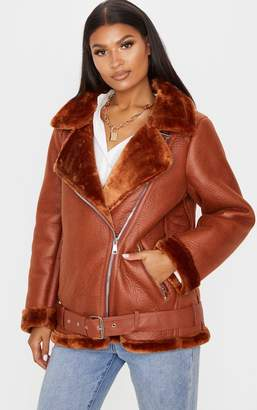 PrettyLittleThing Tan PU Oversized Aviator Jacket