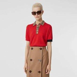 Burberry Vintage Check Tri erino Wool Polo Shirt