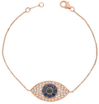 Nephora 14K Rose Gold 0.86 Ct. Tw. Diamond & Blue Sapphire Evil Eye Bracelet