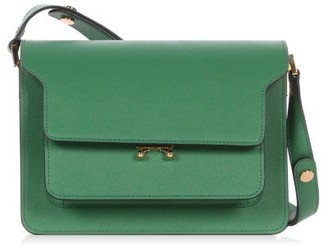 Marni Trunk Medium Saffiano-leather Shoulder Bag - Green