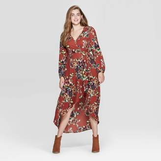 Xhilaration Women's Floral Print Long Sleeve Deep V-Neck High Low Hem Wrap Midi Dress - XhilarationTM Rust