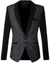 uxcell Men Plaids Pattern One Button Closure Slim Blazer Jacket