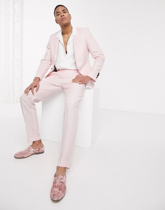 Twisted Tailor slim linen suit trousers in light pink