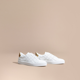Burberry Perforated Check Leather Trainers , Size: 37.5, White