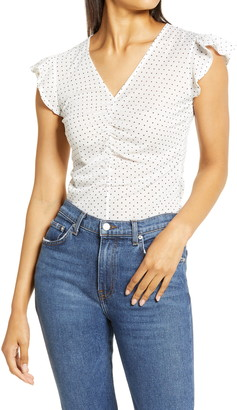 Halogen Ruched Front Mesh Top