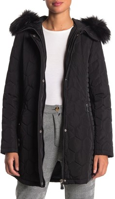 Calvin Klein Removable Faux Fur Trim Hood Quilted Coat