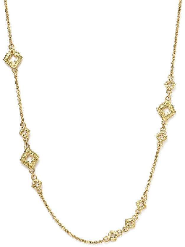 Armenta 18K Yellow Gold Sueno Clover Scroll Station Champagne Diamond Necklace, 19""