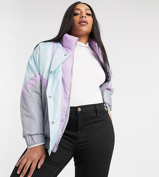 Brave Soul Plus cascada ski jacket in pastel mix