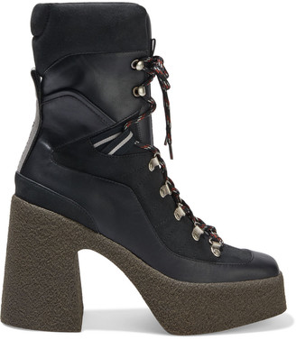 Stella McCartney Lace-up Faux Suede And Leather Platform Ankle Boots