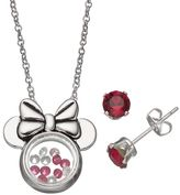 Disney's Minnie Mouse Floating Charm Pendant & Crystal Stud Earring Set