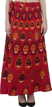 SKAVIJ Womens Cover up Traditional Wax Print Adjustable Strap Maxi Skirt Dress Red