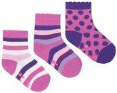 Jo-Jo JoJo Maman Bebe 3 Pack Socks (Baby) - Fuchsia Stripe-0-6 Months