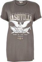 River Island Womens Grey 'Nashville' print rock T-shirt