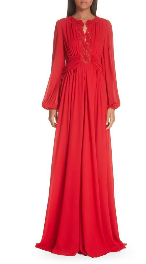 Giambattista Valli Long Sleeve Lace Trim Evening Dress
