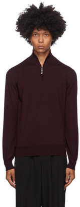 Brioni Burgundy Wool Half-Zip Sweater