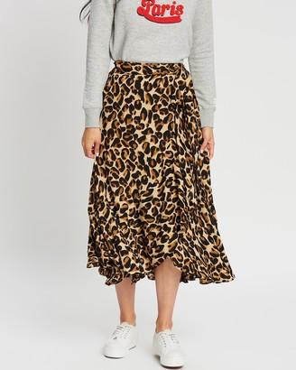 Scotch & Soda Animal Printed Ruffle Skirt with High Low Hem