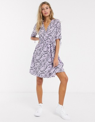 Influence wrap front mini dress in lilac shadow floral print