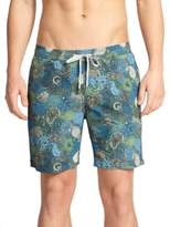 "Onia Charles 7"" Paisley Print Swim Trunks"