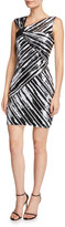 Parker Black Kensington Sequin Striped Asymmetric Mini Dress
