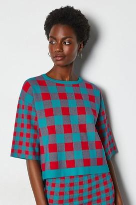 Karen Millen Colour Pop Check Knit Jumper