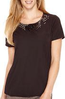 Liz Claiborne Short-Sleeve Beaded Woven T-Shirt - Tall