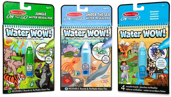 On The Go Water Wow Color With Water Activity Pad 3 Pack Jungle Under The Sea Adventure