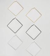 Reclaimed Vintage Inspired 3 Pack Square Hoop Earrings