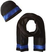 Nautica Men's Raised Striped Beanie Hat and Scarf Set