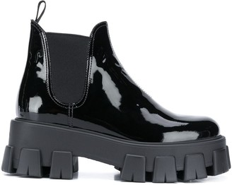 Prada Heavy-Sole Patent-Leather Ankle Boots