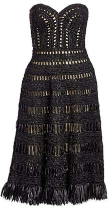 Oscar de la Renta Strapless Woven Cocktail Dress