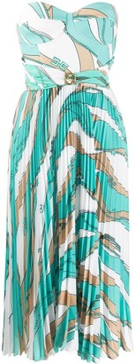 Elisabetta Franchi Chain-Print Pleated Bustier Dress