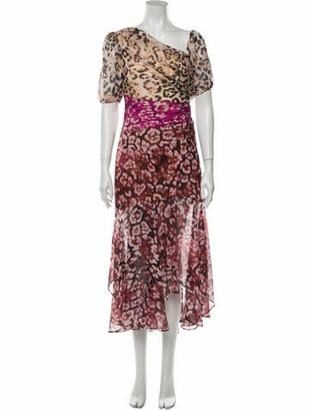 AMUR Silk Midi Length Dress Pink Silk Midi Length Dress