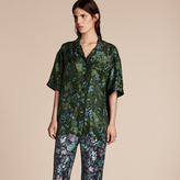 Burberry Short-sleeved Floral Print Silk Pyjama-style Shirt