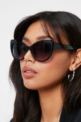 Nasty Gal Womens Tinted Thick Cat Eye Sunglasses - Black - One Size